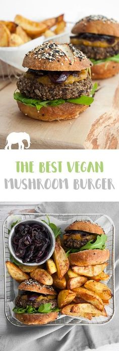 The best vegan Mushroom Burger: Easy homemade mushroom patties (that don't fall apart) served with caramelized red onions, mango chutney and fresh arugula in pretzel buns. Vegan Foods, Vegan Dishes, Healthy Vegan Meals, Vegan Dinner Recipes, Cooking Recipes, Best Vegan Burger Recipe, Homemade Vegan Burgers, Vegan Mushroom Burger, Best Veggie Burger