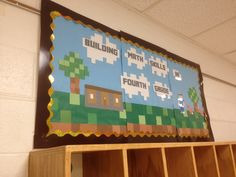 Minecraft bulletin board- I just really liked the pixelated look!