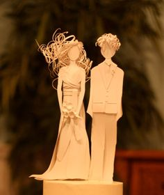 Custom paper cake toppers (to look just like you and your attire!) created by Paper, Gowns and Glory.
