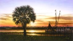 """""""Palmetto Sunset"""" by Jim Booth inspiration from the dock at Crosbys Seafood - Charleston, SC"""
