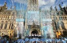 Manchester staged a Premier League trophy parade for the fourth straight year when Man City celebrated their title win. Premier League, Barcelona Cathedral, Manchester, City, Celebrities, Painting, Sport, Celebs, Deporte