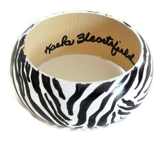 Tribal Black and White Zebra Painted Wooden by phillyart2wear