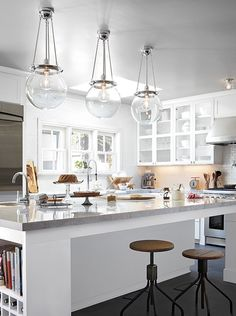 Rejuvenation Summerize Sweepstakes: our Hood pendant fixture in threes. Clear shades add a light and airy feel.