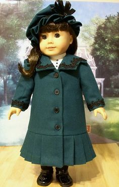 1904 Teal lined wool Coat with Hat made for Samantha by Keepersdollyduds, via Flickr