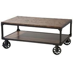 Holly Wheeled Coffee Table with Shelf in Antique Brown