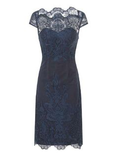 *Chi Chi London Navy Embroidered Bodycon Dress
