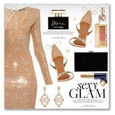 Sexy Glam by dressedbyrose on Polyvore featuring polyvore fashion style Balmain Aquazzura Charlotte Olympia Sara Weinstock Estée Lauder Dolce&Gabbana Louis Vuitton clothing