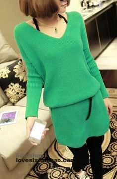 S1287 pullover V-neck bottoming sweater dress-green