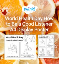 This poster if perfect for using during World Health Day and for starting a discussion on how to be a good listener.Tags in this resource: World Health Day, Good Listener, A4, Encouragement, Display, Poster, Floor Space, Billboard