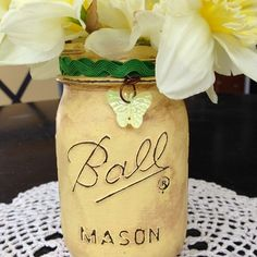 Distressed Mason Jar Vase and Distressed Mason Jar Luminary DIYs