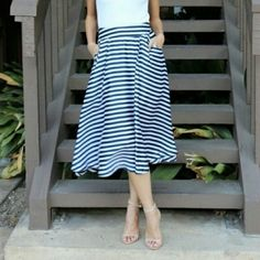 COMING! Parisian Spring Striped Skirt! $60. NWT. Get this perfect for spring navy and white striped skirt! Pair it with some red sandals to get a Parisian feel, or espadrilles for a nautical look. Extra bonus: skirt had pockets!   Size S, M, L and XL (runs small) avail. 100% Polyester. Fully lined. Measurements to come soon! Like this listing to get updates when avail! If interested, tag me to create a listing too! Relished Skirts