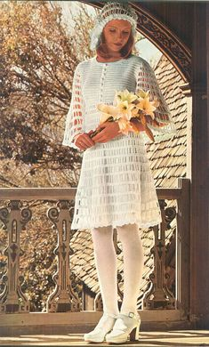Vintage 1970s Open Work Crochet Summer Wedding Dress and Hat Pattern PDF 7311