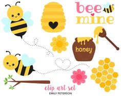 SALE Honeycomb Honey Bee Spring Valentine  by EmilyPetersonStudio