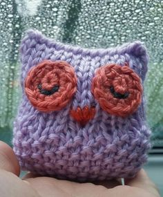 Small Purple Owl - Knitted with Moss Stitch (seed stitch) on the lower half of the body.