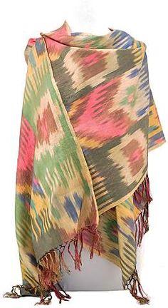 100% silk ikat silk shawl created by Rasuljon Mirzaahmedov in Margilan, Uzbekistan