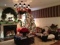 living area decorated for the holidays
