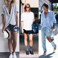 Looks femininos com peças masculinas: 1) Camisa social larga com listas azul marinho + chapéu + tênis branco + shorts jeans. 2) Camisa branca larga + saia de couro + oxford preto em verniz + meia cinza. 3) Camisa azul larga + scarpin branco + jeans rasgado.