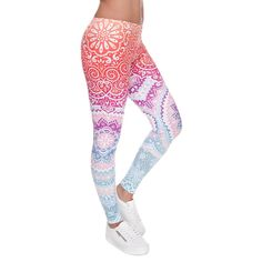 Zohra 2016 Women Fashion Legging Aztec Round Ombre Printed calzas deportivas mujer leggins Slim High Waist Legins Pants *** Continue to the product at the image link. Yoga Leggings, Mode Des Leggings, Ombre Leggings, Aztec Leggings, Floral Leggings, Printed Leggings, Workout Leggings, Yoga Pants, Cheap Leggings
