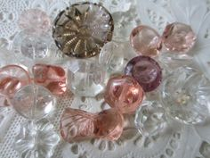 Vintage Buttons  lot of pink and clear Depression by pillowtalkswf, $12.95
