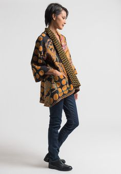 Mieko Mintz Reversible Kimono Jacket in Orange/Navy How To Wear Leggings, Leggings Are Not Pants, Kimono Jacket, Kimono Top, Santa Fe Dry Goods, Kimono Fabric, Fall Outfits For Work, Plus Size Shopping, How To Wear Scarves