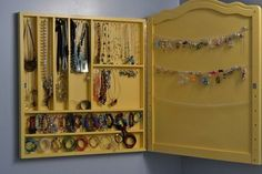 jewelry storage from part of our old crib ;)