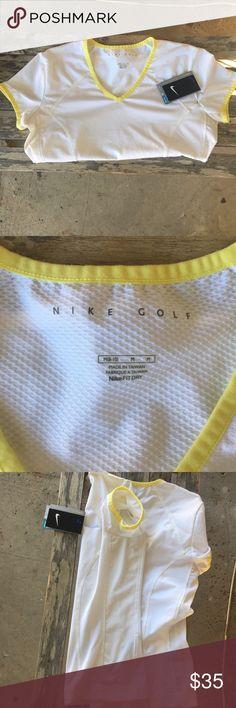 Nike fit dry women's golf shirt nwt Nike fit dry women's golf shirt nwt. Size medium. Perfect for summer. Nike Tops Tees - Short Sleeve