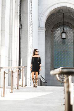 Santorini Ready :: Off-the-shoulder dress & Gladiator sandals