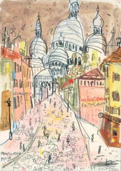 """Sacre Coeur Montmartre Paris"" by Claire Caulfield - Gorgeous! Walking up that hill and see Sacre Coeur is one of my favorite travel sites - swoon Art And Illustration, Illustration Parisienne, Illustrations, Art Parisien, Art Français, Montmartre Paris, Paris Art, Inspiration Art, Urban Sketching"