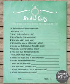 Mint Watercolor Bridal Quiz Bridal Shower & Wedding Game INSTANT DOWNLOAD by HTBHandmade