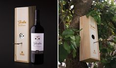 This cute wooden wine box can be reused as a bird house!