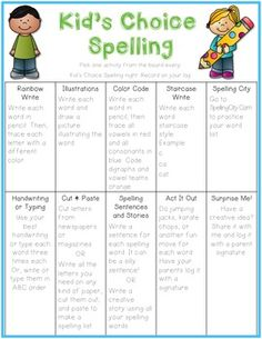 This freebie gives students choice with their spelling homework. You can use it every night or on designated student choice nights. It could also be used in the classroom for independent practice or centers. There are both color and blackline options.You can use this menu with my First Grade Phonics pack, which provides differentiated spelling lists spanning basic phonics skills for the entire year.It can also supplement this short vowel unit in kindergarten, early first grade, or remedial…