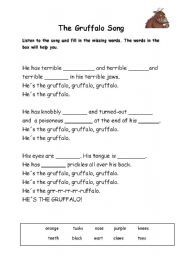 English teaching worksheets: The Gruffalo The Gruffalo Song, Descriptive Words, Reading Worksheets, Forest School, Daycare Ideas, Home Learning, Writing Practice, School Resources, Eyfs