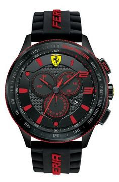 Jewelry Men Scuderia Ferrari Men's Chronograph Scuderia Black Silicone Strap Watch 830138 - Style with speed at the forefront. A racing-inspired Scuderia collection watch from Scuderia Ferrari. Men's Watches, Sport Watches, Luxury Watches, Cool Watches, Fashion Watches, Watches For Men, Jewelry Watches, Diamond Watches, Bracelet Cuir