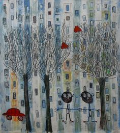 "Saatchi Online Artist Siro Carraro; Painting, ""Lost In This Big City"" #art"