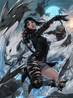 Artist: Jung Myung Lee aka rupid79 - Title: 025 - Card: Gleaming Moon Shirayuki (Assassin)