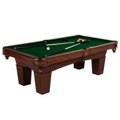 """This Crestmont 8' Billiard Table is a great centerpiece for any game room. Your family and friends will spend hours playing on this durable table. Constructed of durable materials such as particle board, MDF, wool, polyester and PVC laminate. The playing deck, underneath the wool blended felt cloth, is solid, 1"""" thick particle board. Precision details will include hand placed inlaid, faux pearl, rail markers and machine routed cabinet panels and legs. Genuine K-818 bumpers offer a sm..."""