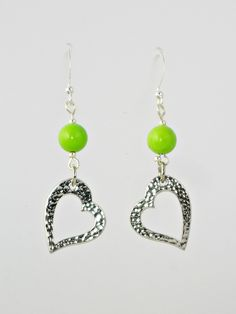 Antique Silver Hearts with Green Beads