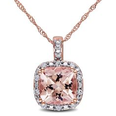 Miadora 10k Rose Gold Morganite and 1/10ct TDW Diamond Necklace (G-H, I2-I3)