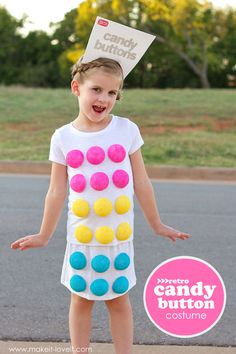 Easy to make Candy Buttons costume for kids! Candy Land Costumes, Candy Halloween Costumes, Cute Costumes, Costume Ideas, Family Costumes, Clever Costumes, Halloween Outfits, Holidays Halloween, Halloween Crafts