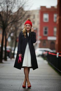 Winter White + Chic Red Hat! #RachMartino