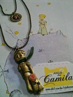 Colar duplo do Pequeno Príncipe   #LittlePrince #PequenoPríncipe #Rosa #Estrela #Colar #ColarDuplo #AteliêdaCamila