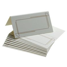 These place cards feature a silver Art Deco border on white or ivory - vintage style. These place cards are perfect for the Great Gatsby look.