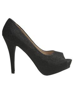Not super high. Not shiney black heels :)