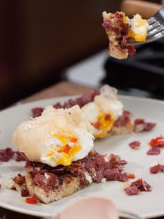 Crisp Tempura Poached Egg over English Muffin with Red Pepper Corned Beef Hash recipe from Jeff Mauro via Food Network