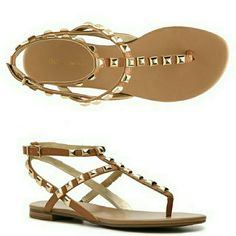 BCBGeneration  sandal Gorgeous sandal, so elegant and comfortable.  Neutral color, good to go with everything. Fancy golden studs for a sophisticated statement. Man made upper/lining,  man made w/cork insert sole. Come with original box. BCBGeneration Shoes Sandals