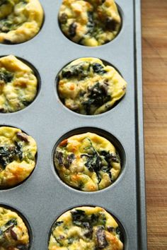 Spinach and Feta Mini Frittatas. Spinach and Feta Mini Frittatas - Start your day off right with this healthy protein-packed breakfast! Mini Frittata, Vegetarian Appetizers, Best Vegetarian Recipes, Healthy Cooking, Cooking Recipes, Healthy Breads, Kid Recipes, Yummy Recipes, Free Recipes