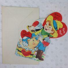Vintage Valentine's Day Card Tain't Hawg Wash Pig Boy Farm Soap Heart USA Fold