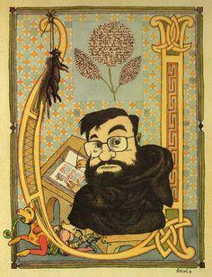 """Karikatuur van Umberto Eco n.a.v. """"De Naam van de Roos"""""""
