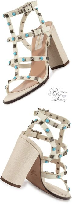 a2e6014307be Brilliant Luxury   Valentino Rockstud Cabochon Block-Heel Sandal Valentino  Shoes