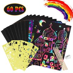 27 Set Art Rainbow Magic Scratch Paper Ornaments Valentines Day Ornaments Cupcake Ice Cream Donut Cutouts with Holes Hang Tags Favor Tags Gift Tags Treats Tags with Organza Ribbons Scratching Tool